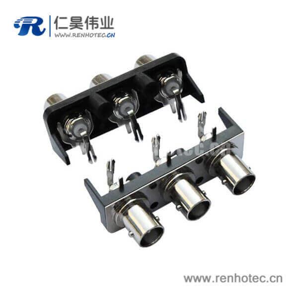 BNC插座1X3黑色塑胶外壳绝缘直式母头PCB板端