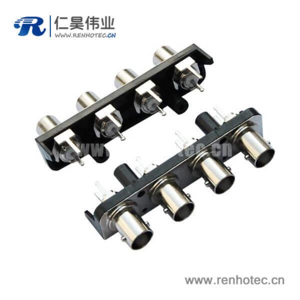 bnc1X4黑色塑胶外壳直式射频同轴PCB板端视频母头