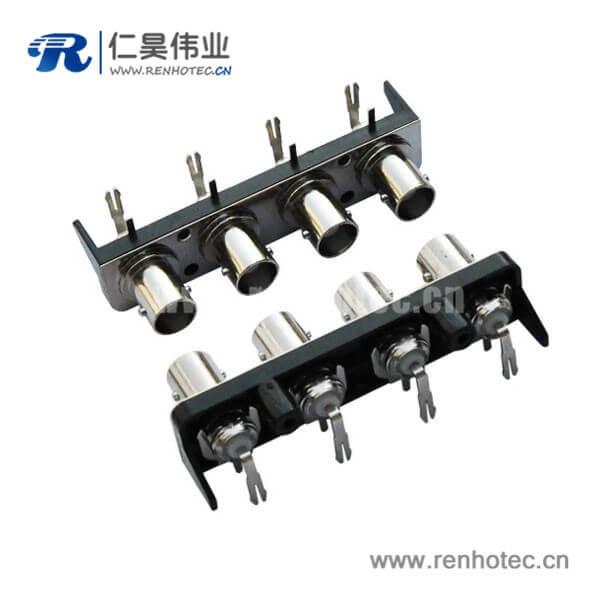 bnc多孔视频连接器4同轴塑胶外壳弯式射频母头PCB板端
