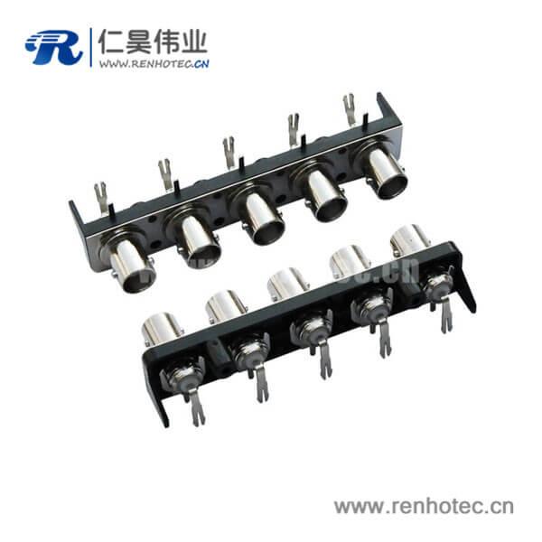 bnc高清视频连接器黑色塑胶外壳弯式母头PCB电路板