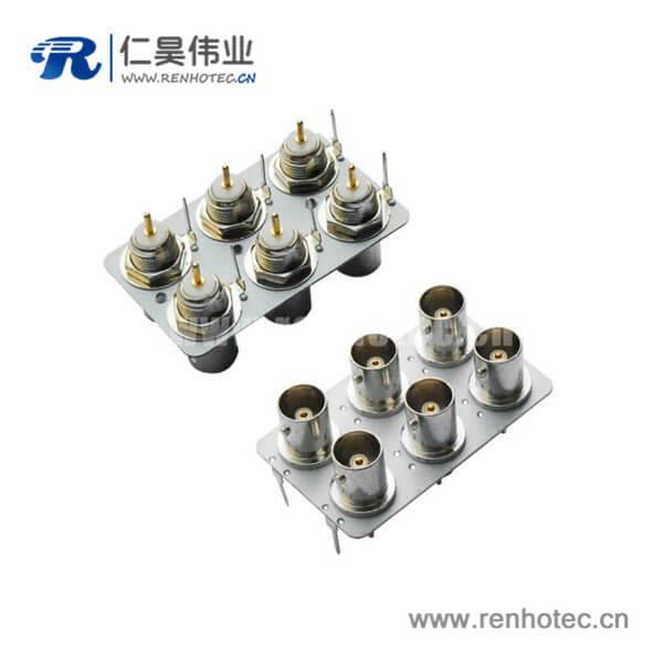 BNC连接器直式母头接pcb插座6孔同轴射频接头