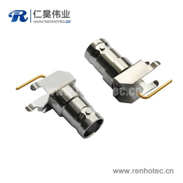 bnc射频同轴连接器弯式母头PCB板端