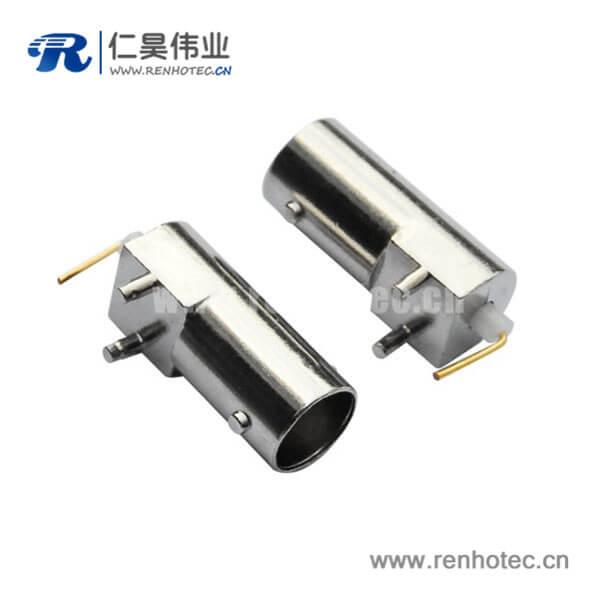 bnc连接器90度射频同轴 母头锌合金PCB插座板