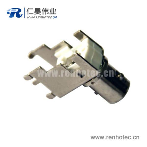BNC射频同轴弯式母头锌合金PCB板端连接器