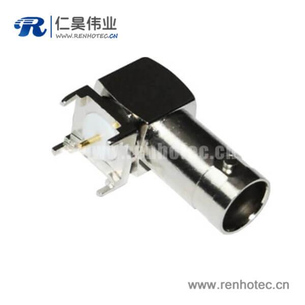 BNC弯式方形5引脚母头PCB板端高频同轴连接器