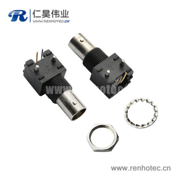 bnc插座黑色外壳塑胶 弯式射频同轴连接器PCB