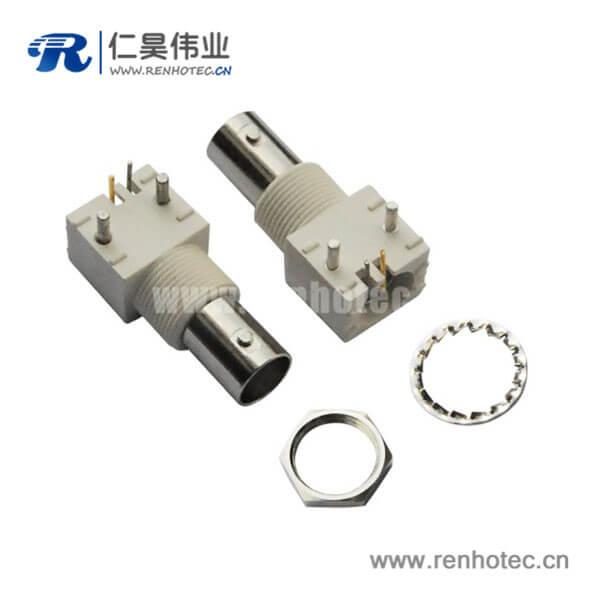 bnc连接器压电90度白色塑胶外壳绝缘母头接PCB