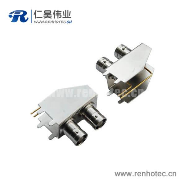 bnc母座弯式射频同轴锌合金接PCB板端