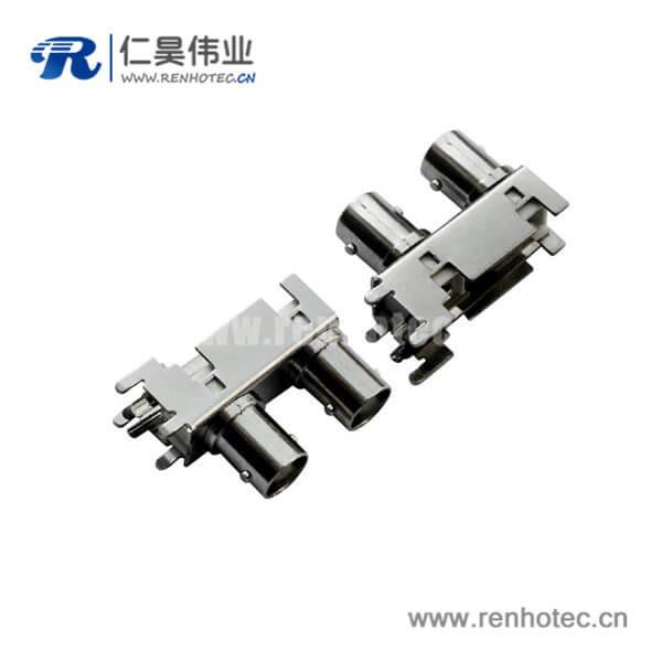 bnc同轴接口弯式射频同轴锌合金母头PCB板端