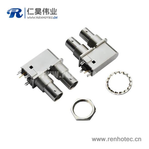 bnc同轴射频连接器锌合金穿墙母头接PCB板
