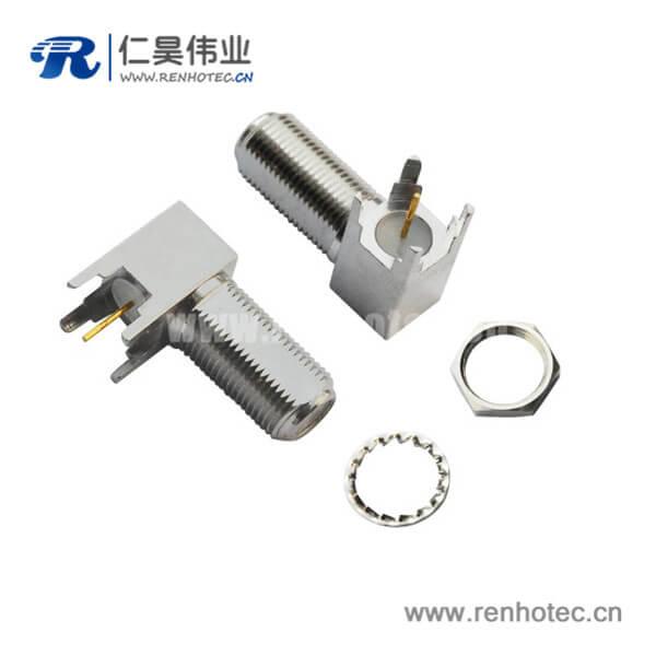 f射频同轴连接器pcb板端连接器弯式穿墙式母头
