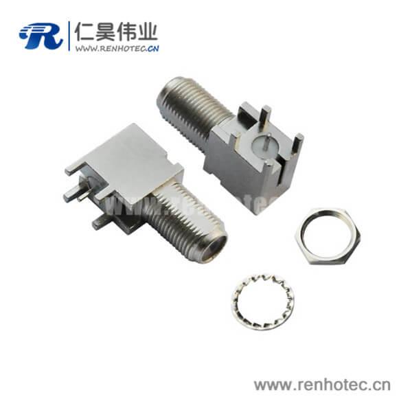 f头连接器pcb插板连接器弯式穿墙式母头