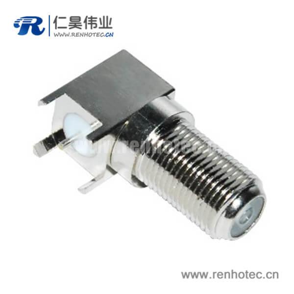 f头弯式穿墙pcb射频连接器板端母头