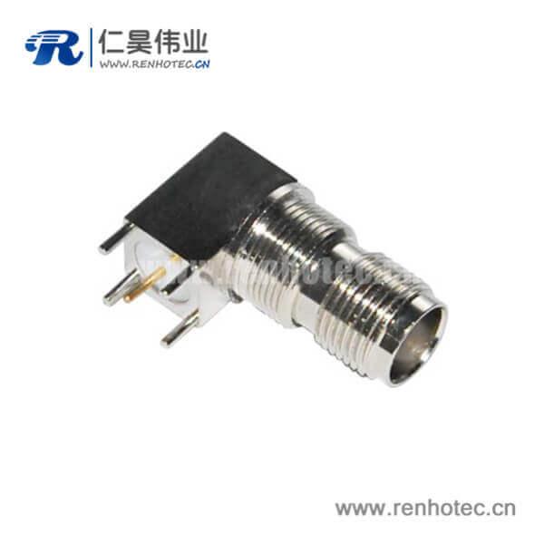 tnc弯式穿墙式方头5引脚PCB板端母头连接器