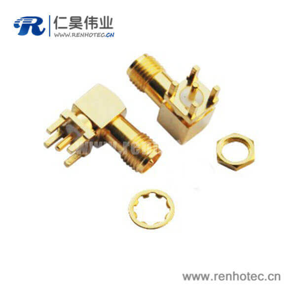 sma射频连接器反极性镀金弯式插座PCB板