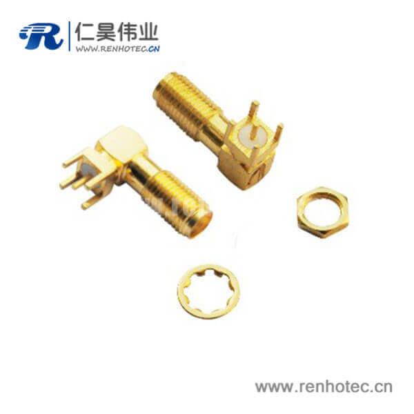 sma射频连接器镀金母头弯式PCB板端