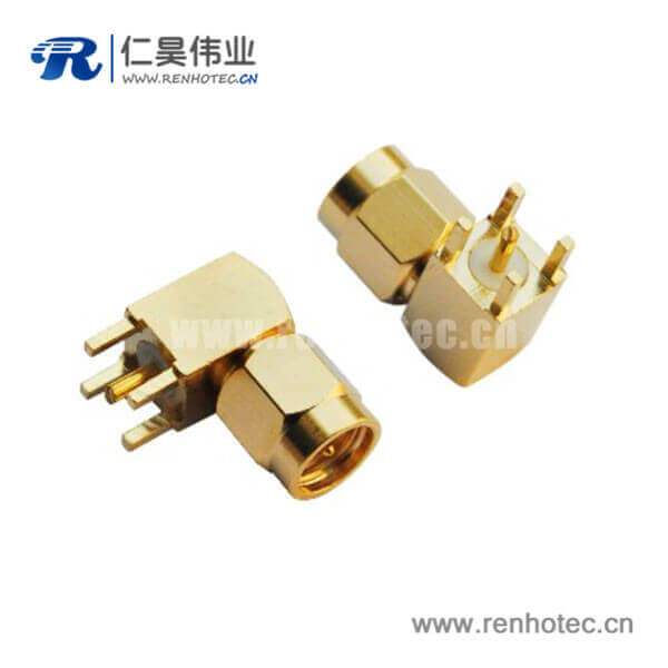sma系列射频连接器弯式镀金方形5引脚pcb板