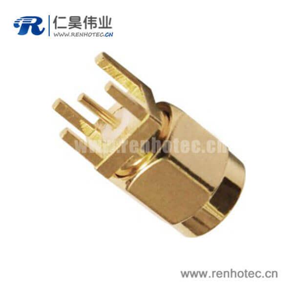sma镀金公头PCB直插板射频同轴连接器