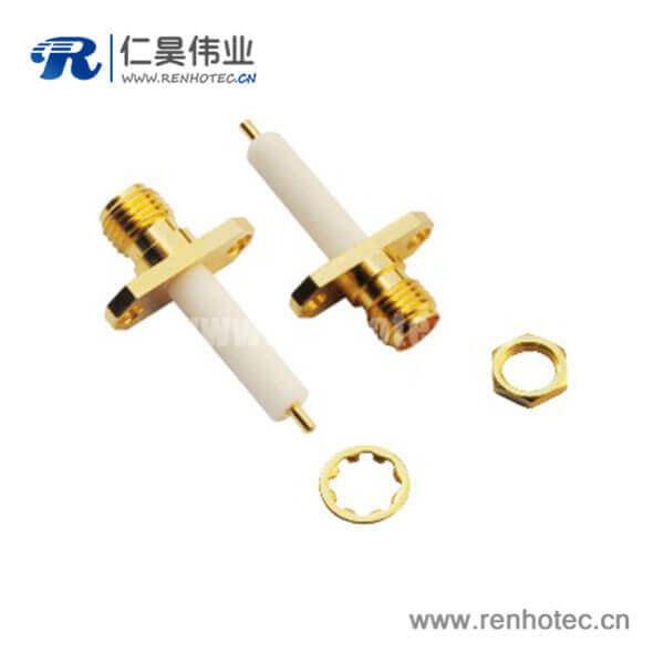 sma2孔法兰直式母头面板安装射频同轴连接器