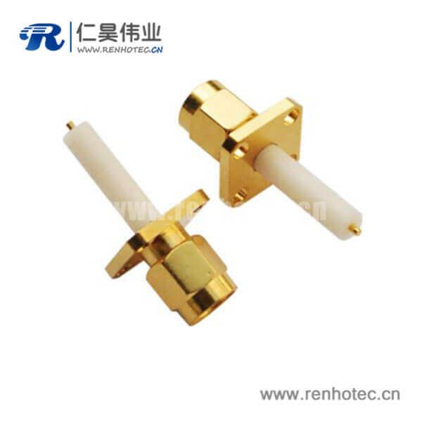sma型射频同轴连接器4孔方形法兰座公头面板安装