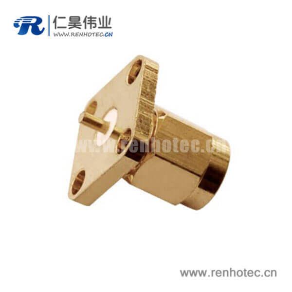 sma方形4孔法兰座子直式面板安装公头RF连接器射频同轴
