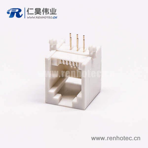 rj45插座单口全塑网络插口白色镀金弯式接PCB板