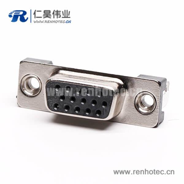 3排db15母头弯式高密度黑色胶芯子接PCB板