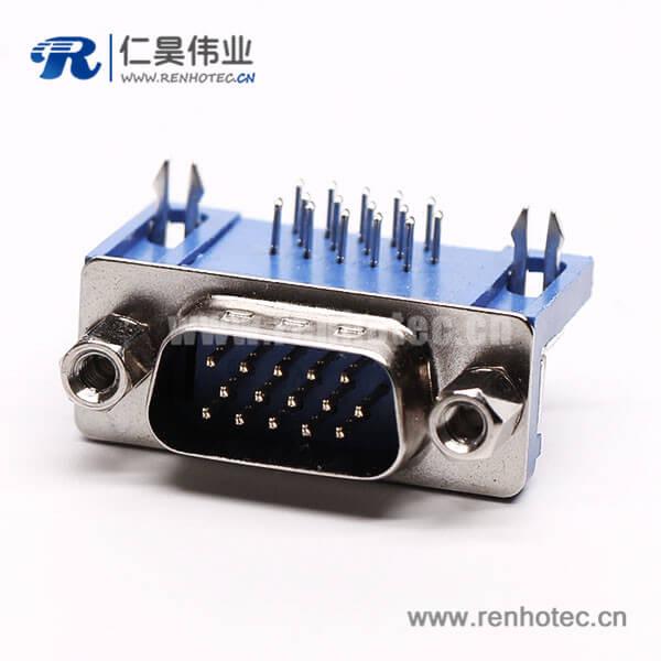 db15三排公头90度弯式焊板铆锁蓝色胶芯