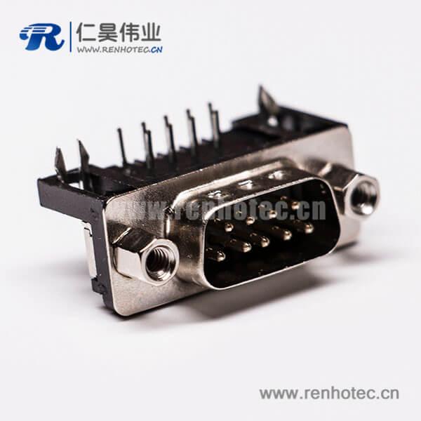 D-sub 9针公插芯弯头冲针接PCB板黑胶连接器