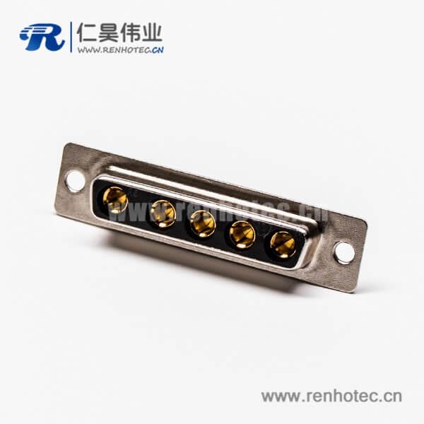 混合大电流d sub连接器5w5焊线式直式母座