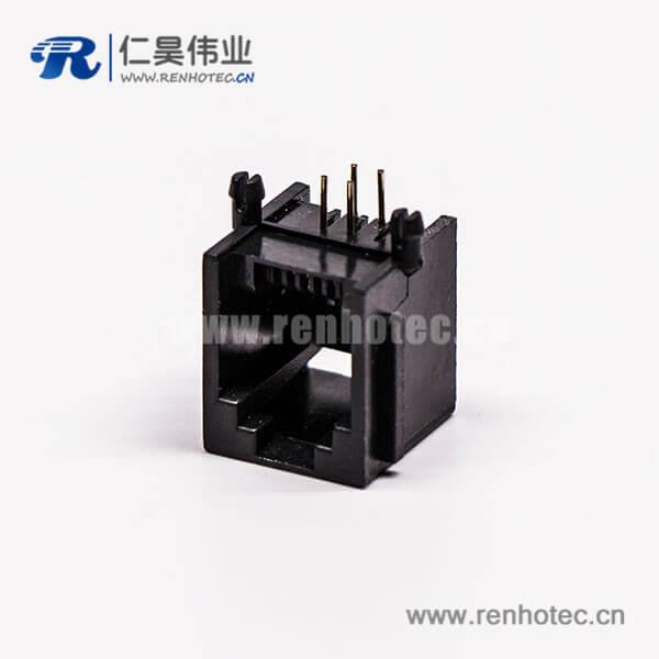 rj45连接器4P网络黑色全塑单口不带灯90°接PCB板