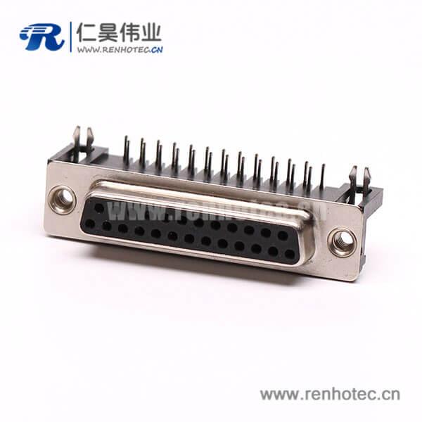 D-Sub连接封装25针90°焊板铆合接PCB板