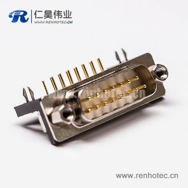 弯脚公头DB15插座车针型连接器穿孔接PCB板