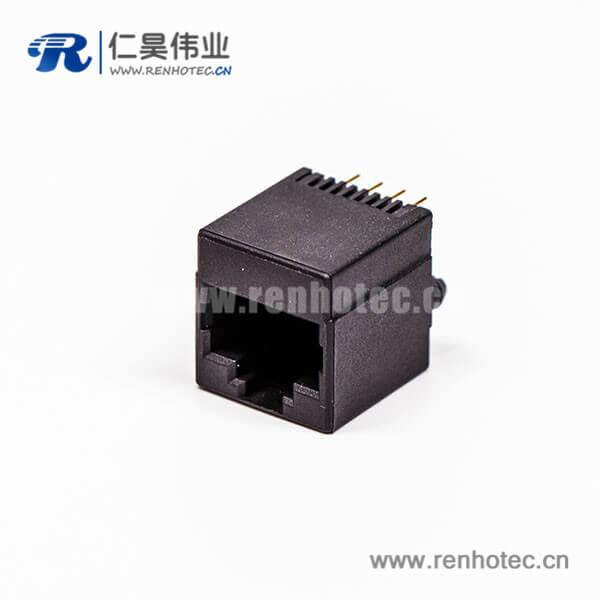 rj45母座黑色全塑单口4P金针直式接PCB板网口