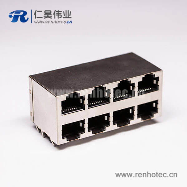 rj45接口8口双排母头2*4 RJ45带屏蔽不带灯