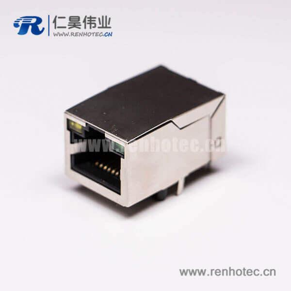 rj45单口网线接口8P8C 带灯带屏蔽接PCB板