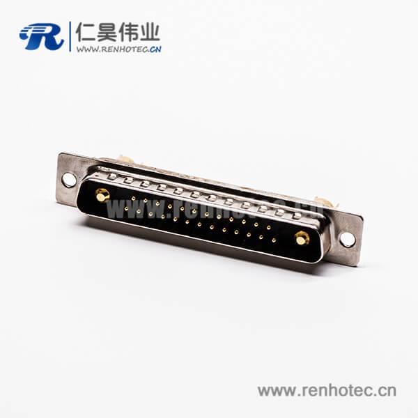 大电流D-SUB27w2焊线式光孔铆合直式混合型母座