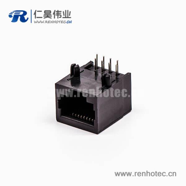 rj45母座接口8P8C黑色90度不带屏蔽不带灯接PCB板