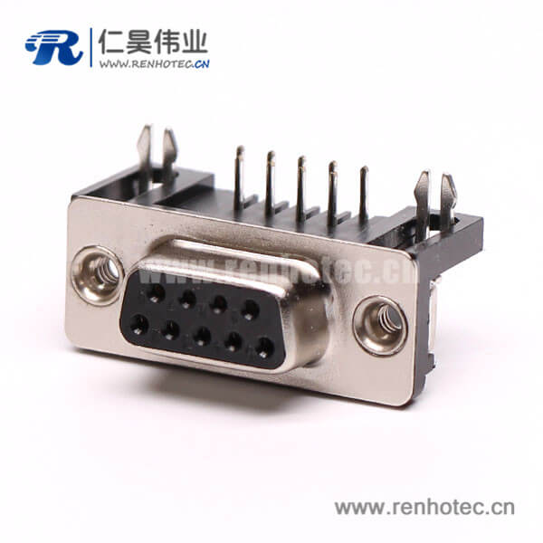 D-Sub 9P铆线式弯角焊板铆锁接PCB板连接器