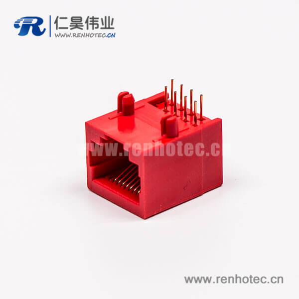 rj45网络接口母座红色全塑8P8C90度接PCB板