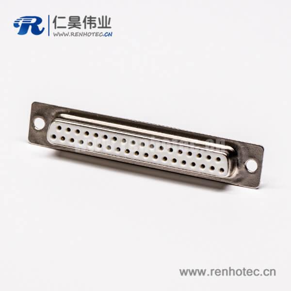 db37接口母头直式插孔接PCB板光孔铆合
