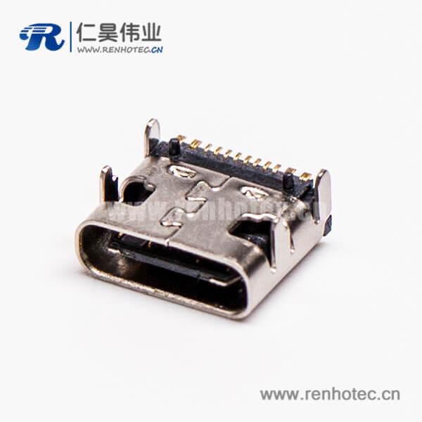 type c 连接器usb3.0母头弯式单排SMT接板