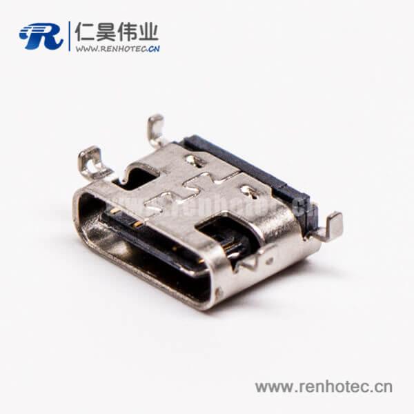 type c母座封装弯式单排沉板式usb3.0连接器