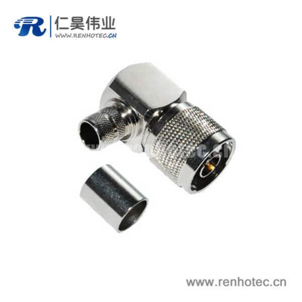 N型弯式压接公头连接器射频同轴电缆RG58/59/6/174/213