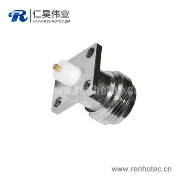 n型连接器插座直式4孔法兰盘面板安装