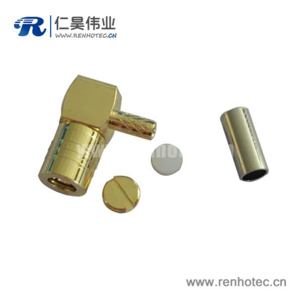 弯式压接SMB优质射频同轴连接器公头电缆RG174