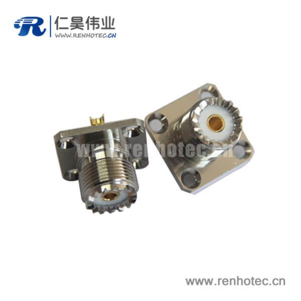 uhf母头rf射频同轴连接器法兰盘4孔方形座