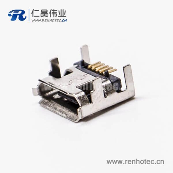 手机micro usb接口母头5针SMT B型四脚DIP 7.15