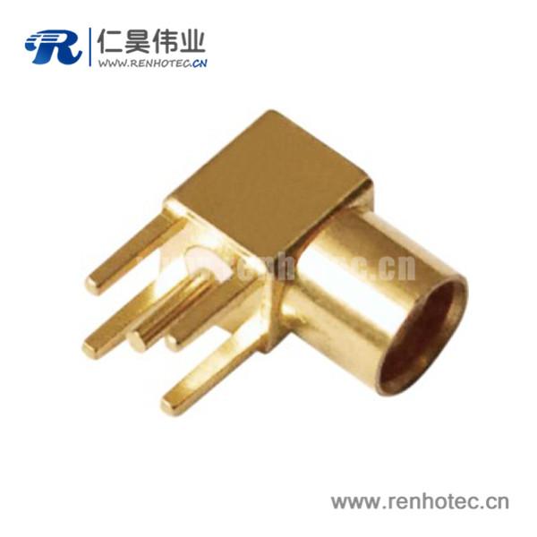 mcx同轴弯式镀金母头pcb射频连接器板端