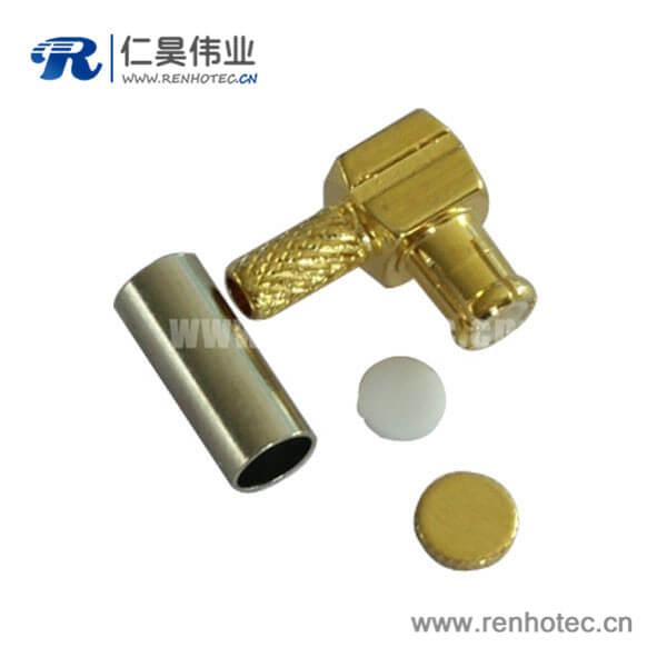 压接式公头mcx射频同轴连接器接rf连接线RG316弯头